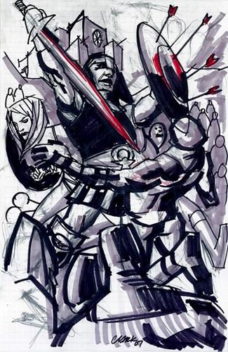 战争场景的卡通素描。