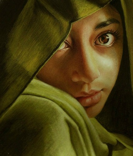 美丽的彩色肖像彩色铅笔画
