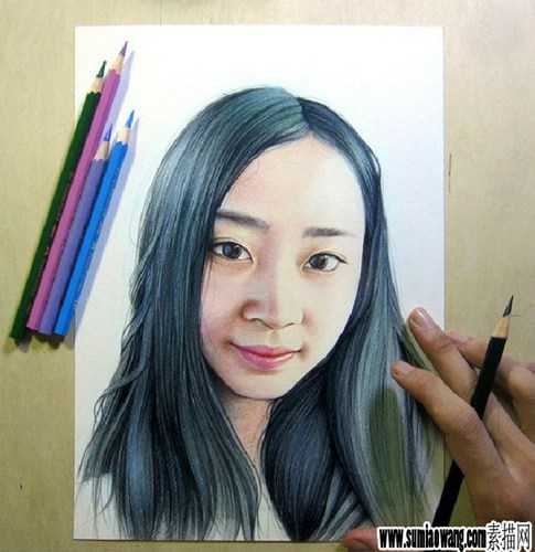 彩铅素描女孩头像