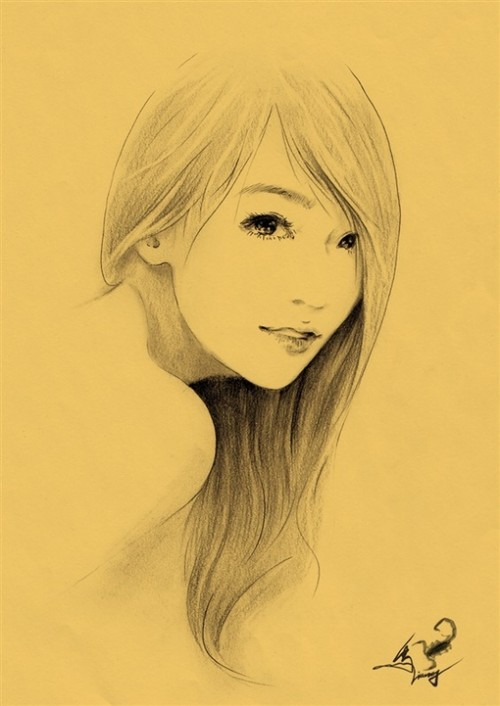 16个彩绘女主角素描头像