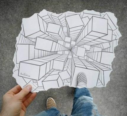 铅笔和相机创意素描