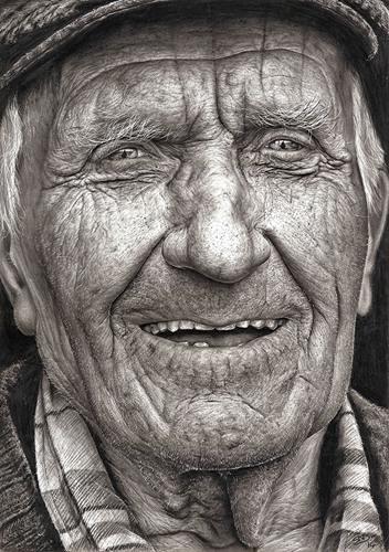 十六岁艺术家的超现实主义铅笔素描肖像