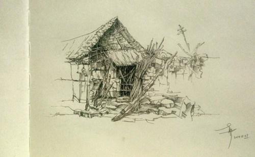 户外素描旧茅草屋