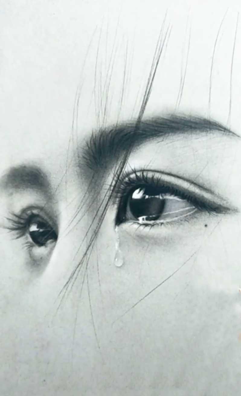 这幅画很美,而且在哭泣!泪眼草图
