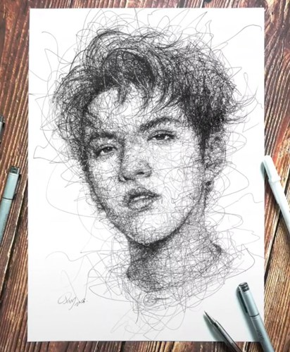 吴亦凡·克里斯素描头像飞线涂鸦——视频绘画过程