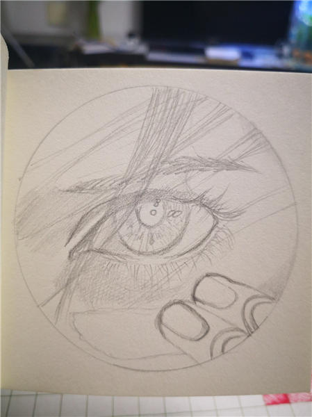 阿利塔眼睛素描手绘圆点彩色素描图
