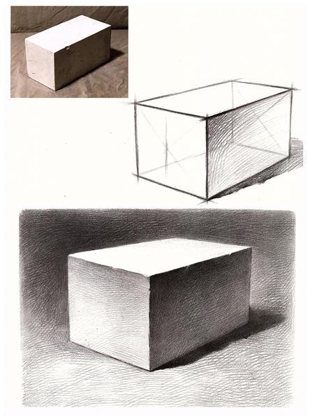长方体素描单体优秀扇画新手临摹画