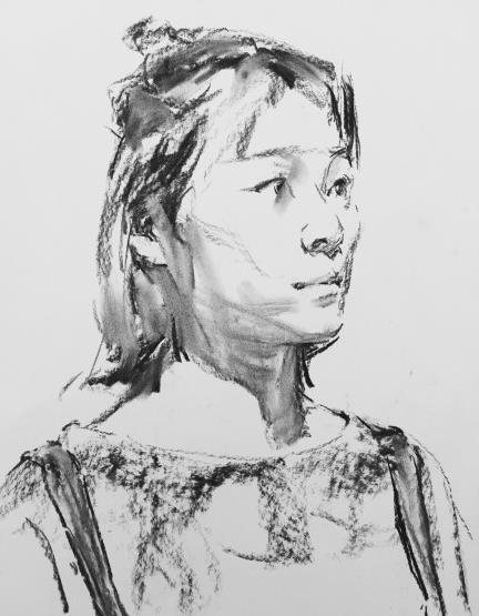 不同特点和用途的棉,木和碳带,附:碳带素描肖像绘画!