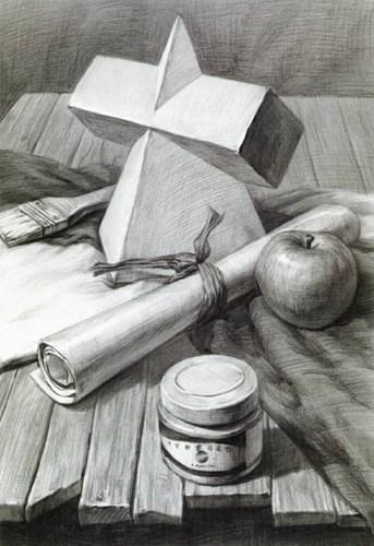 第五步:素描静物作品呈现。