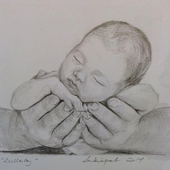 婴儿素描大师欣赏可爱的婴儿铅笔手绘