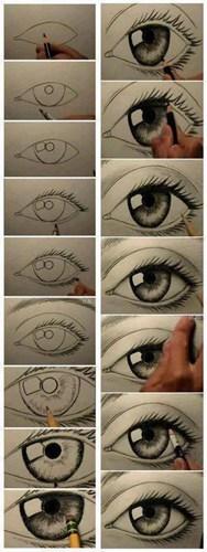 美瞳素描彩色铅笔画