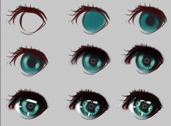 漂亮的彩色铅笔画眼睛,适合模仿学习做头像