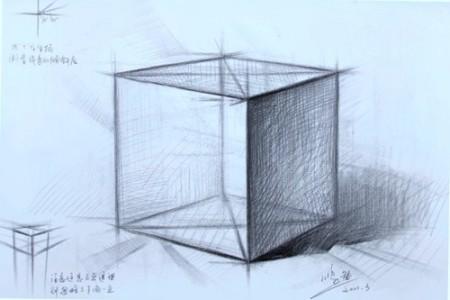 素描石膏像正方体画法步骤