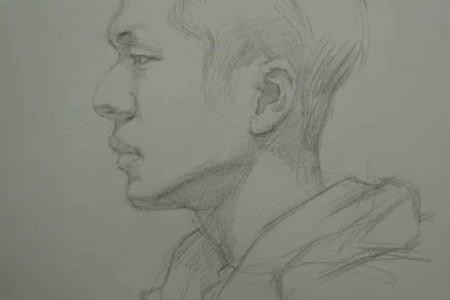 男青年正侧面素描头像