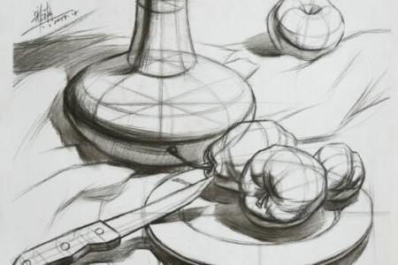 静物结构素描画学习 优秀结构素描作品