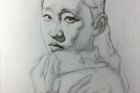 刘斌素描:穿毛衣女孩超写实素描步骤教程图