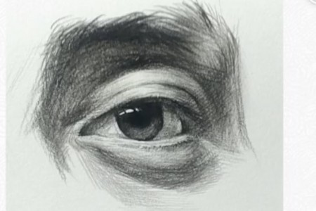 素描眼睛的画法视频教程:基础扎实 适合正规素描学习-深蓝画室