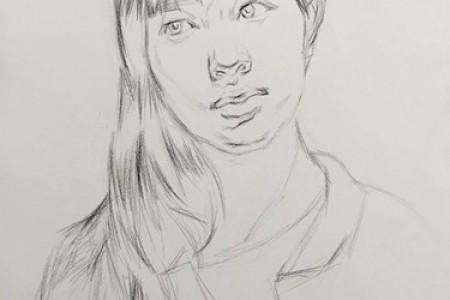 五官清秀 漂亮的长发女孩素描头像画法步骤