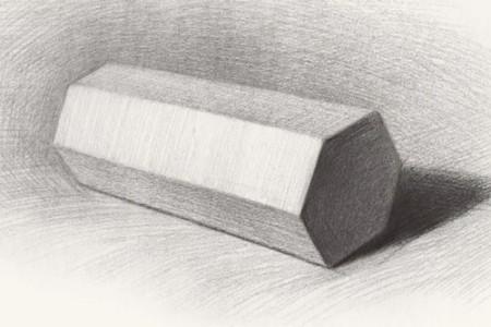 石膏几何体:六棱柱素描教程 图片视频
