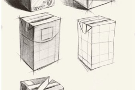 盒装牛奶素描画法步骤图 牛奶美术作品