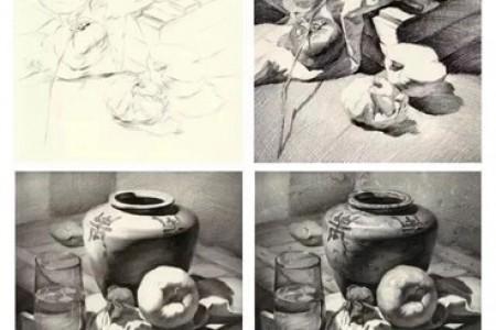 组合素描静物:罐子 苹果 高脚杯素描步骤图