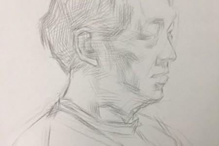 素描头像步骤图:中年男子侧面画法教程