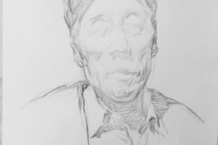 央美师锋素描头像步骤图:老人男子正面素描