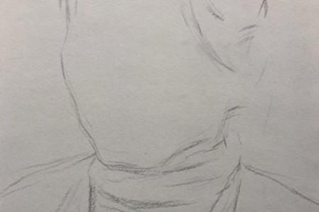 素描头像考题预测:素描头像女中年自然光步骤图