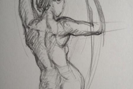 站立女性身体后侧的绘制步骤图
