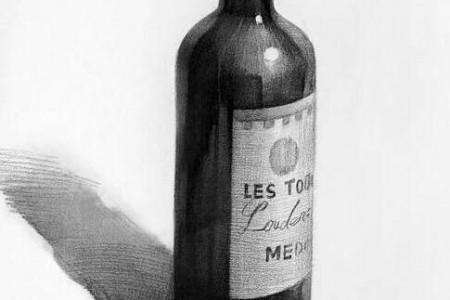 小傻仙酒瓶素描艺术作品