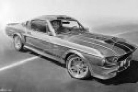 汽车模型和剪刀写实素描作品精致