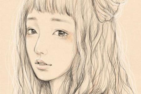 长发女孩素描头的绘制步骤