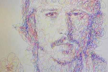 用圆圈线画一个人的肖像。