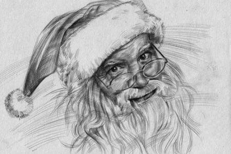 两张圣诞老人素描