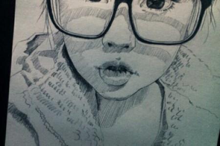 戴黑色眼镜的女孩的素描。