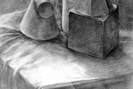 强调光影空间的几何石膏草图