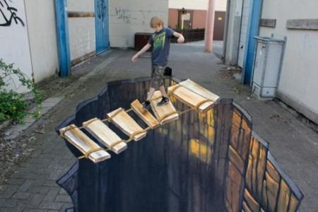 街道上画的深渊和梯子3d画