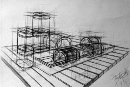 结构素描静物的准确透视与结构