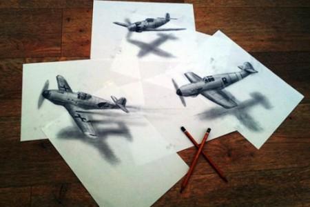 纸上生动的飞机和船舶三维立体画