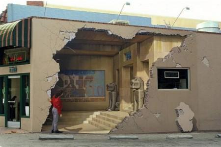 三维绘画破碎的墙壁墙上的三维立体绘画
