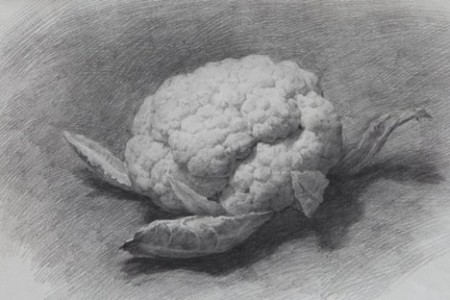 素描蔬菜,花椰菜和茄子。