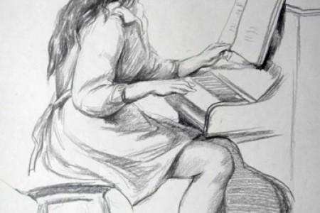 画草图和弹钢琴的女人。