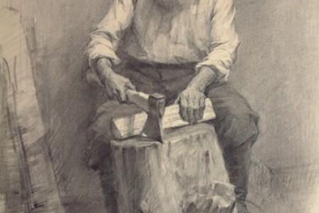 列宾美术学院的老人画柴火