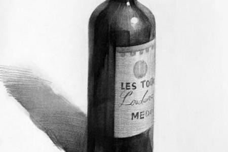 素描静物酒瓶