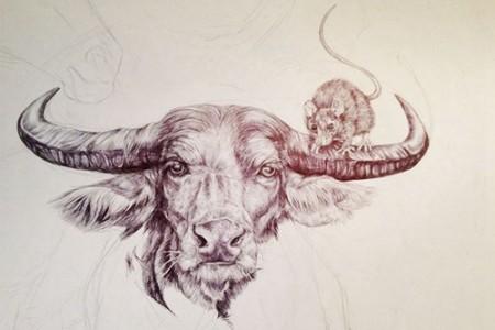 美国女孩画十二生肖动物的创作