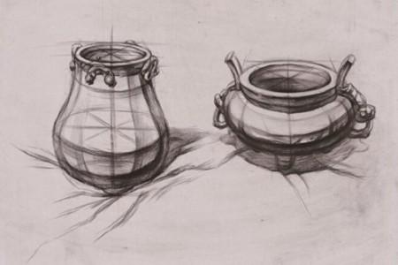 静物结构草图香炉罐水果瓶书