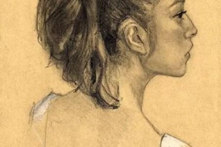 铅笔侧前方画的美女素描头