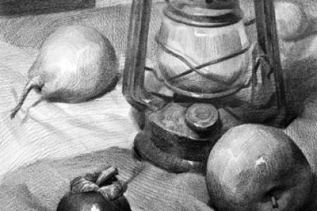 静物画:油灯、苹果、梨、山竹果和鸡蛋