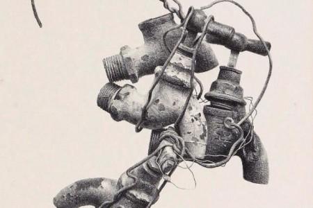绘制生锈的水龙头和铁丝