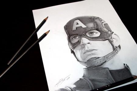 美国船长素描头像